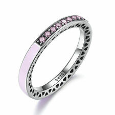 3mm 925 Sterling Silver Radiant Hearts Ring with Light Pink Enamel & Clear CZ