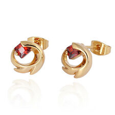 Lovely 14K Gold Plated Clear Square Crystal Rabbit Ruby Cute Stud Earrings