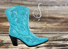 Helen Heart Sequin Cowboy Boots Short Wide Calf Turquoise *Brand New All Sizes
