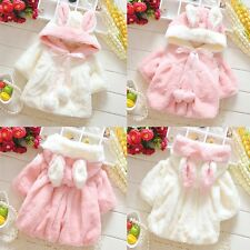 Child Baby Girls Warm Fur Fleece Rabbit Cloak Hooded Thick Outwear Jacket Coat