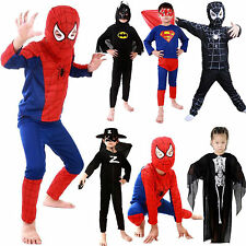 Kids Boys Coaplay Costume Spiderman Superman Batman Zorro Party Fancy Dress 3-7Y