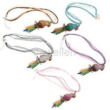 Cute Colorful Charm Parrot Inlaid Crystal Pendant Fashion Sweater Necklace