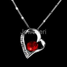 Elegant Woman Lady Silver Necklace Crystal Heart Pendant Chain Bridal Jewelry