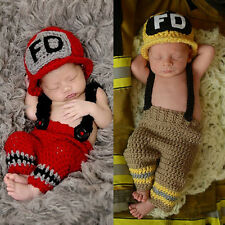 Newborn Baby Crochet Baby Cap Bow Diaper Costume Knitted Photography Prop Sets