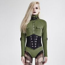 Punk Rave Siam Corset Military Green Long Sleeve Top [Special Order] - Gothic,Go