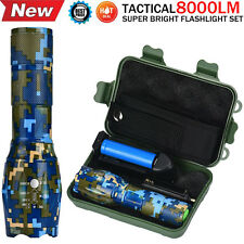 8000LM G700 X800 XM-L T6 LED Zoomable Tactical Camo Military Flashlight Torch US