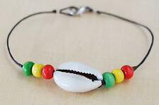 Nice Cowry Shell Rasta Wood Beads Waxed Cotton Cord Silver Tone Bracelet/Anklet