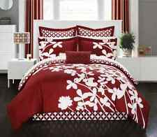 Reversible Comforter Red 11pc Sheet Pillow Bed In a Bag King & Queen Size Set