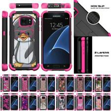 For Samsung Galaxy S7 Case Dual Layer Hybrid Kickstand Defender Pink Cover