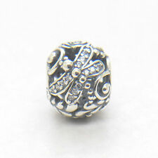 Authentic S925 Silver Dragonfly Meadow Clear CZ Charm