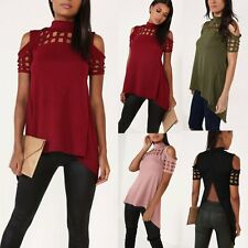 Fashion Womens Short Sleeve Shirt Casual Hollow Blouse Loose Cotton Tops T Shirt