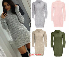 WOMENS LADIES LONG SLEEVE COWL POLO NECK CABLE KNITTED JUMPER MINI DRESS 8-14