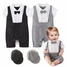 Baby Boy Wedding Christening Tuxedo Formal Romper Suit Outfit Clothes+Hat Set