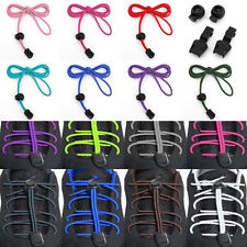 1Pair No-Tie Elastic Canvas Sports Shoe Laces Bootlace Lock Shoelaces 15Color US
