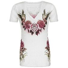 Sinful DAFFODIL Womens V-Neck Top Burnout S NWT NEW T-Shirt Affliction White