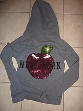 "VICTORIAS SECRET PINK RARE BLING APPLE ""NEW YORK"" FULL ZIP DOG HOODIE NWT"