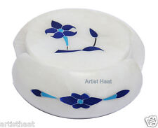 Xmas Décor Artist Haat Handmade Round White Marble Table Coaster with Inlay Work