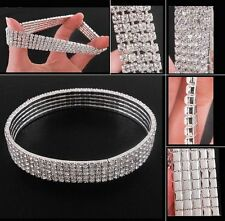5 Rows Crystal Rhinestone wide ANKLET BRACELET or ARMBAND stretch Silver or Gold