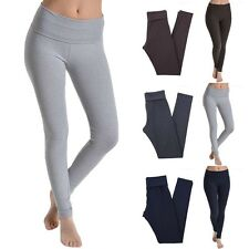 High Quality Solid Full Length Fold Over Band Leggings Skinny Pants Cotton S M L