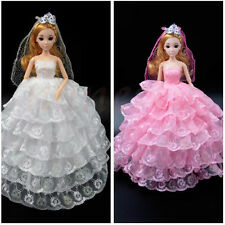 Handmade Princess Wedding Party Dress Clothes Gown With Veil For Barbie Doll New