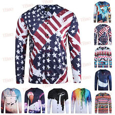 New Mens Creative 3D Printing Long Sleeve Cardigan Casual Shirt Tops T-shirts