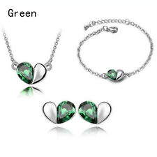 Lovely Wedding Jewellery Set Lady Crystal Love Heart Necklace+Earring+Bracelet