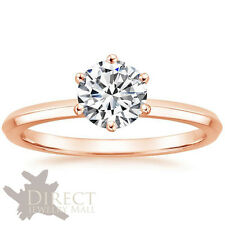 9ct Rose GOLD Brilliant Cut Created DIAMOND Solitaire ENGAGEMENT Ring Bevel Band