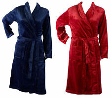 Bath Robe Womens Soft Thick Fleece Plain Shawl Collar Wrap Around Dressing Gown