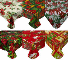 Christmas PVC Tablecloth Flannel Back Festive Xmas Dining Kitchen Table Linen