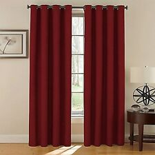 2 Panel Solid Lined Thermal Blackout Grommet Window Curtain Drape DEEP BURGUNDY