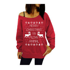 New Women's Merry Christmas Sweatshirt Xmas Cotton Jumper Sweater Top Pullover