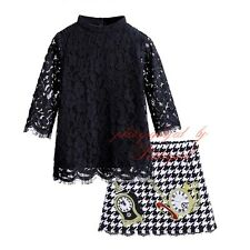 Girl Black Lace Tassel T-shirt Top + Houndstooth Skirt Set Princess Party Outfit