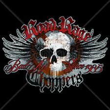 Road Rage Choppers Since 1985 Skull Wings Motorcycle Biker T-Shirt Tee