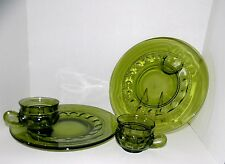 Two (2) Indiana Glass Kings Crown Thumbprint Green Snack Sets~Near Mint~Vintage