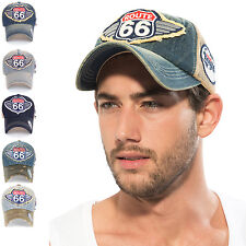 ililily Route 66 Wing Logo Patch Vintage Denim Mesh Trucker Hat Baseball Cap