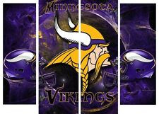 NFL Minnesota Vikings, 4 panel, large wall canvas High Resulotion Print