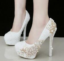 Womens White Wedding Shoes Pearls Crystal Platform High Heels Bridal Shoes Prom