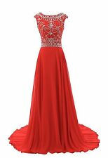 A Line Cap Sleeve Bridesmaid Evening Formal Dresses Beaded Party Prom Gown HD003