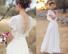 Chiffon Beach Simple Wedding Dresses A Line Short Sleeve Lace Bridal Gowns HD006