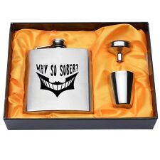 WHY SO SOBER? Engraved 6oz Silver Hip Flask Stainless Steel Set Funnel Gift Box