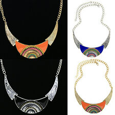 Stylish Women Lady Ethnic Style Moon Pendant Leaf Choker Chain Necklace Jewelry