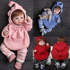 2PCS Baby Kids Girls Boys Warm Knitted Crochet Hooded Sweater+Pants Outfits 1-4Y