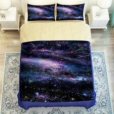 3D Galaxy Sky Duvet Cover Set 3PC-4PC Cotton Quilt Cover Fitted Sheet Pillowcase