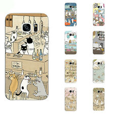 For Samsung Galaxy S6 S7 C7 Edge Plus Case Soft TPU Back Phone Cover Cats Play