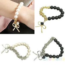 Women's Fashion Elastic Faux Pearl Charm Bowknot Beaded Bangle Bracelet Happy