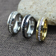 Fashion Women Men Crystal Rhinestone Stainless Steel Rings Jewelry