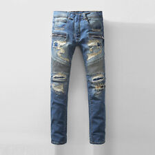 Men's Fashion Ripped Holes Distressed Destroyed Jeans Biker Jeans Casual Jeans