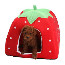 Soft Warm Strawberry Pet Cat Dog House Nest Kennel Doggy Cushion Basket Bed