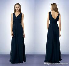 Sexy V Neck Sleeveless Bridesmaid Evening Dress Long Plus Size Party Gowns HD033