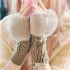 Women Hand Wrist Fingerless Winter Gloves Soft Warm Fur Knitted Mitten Solid